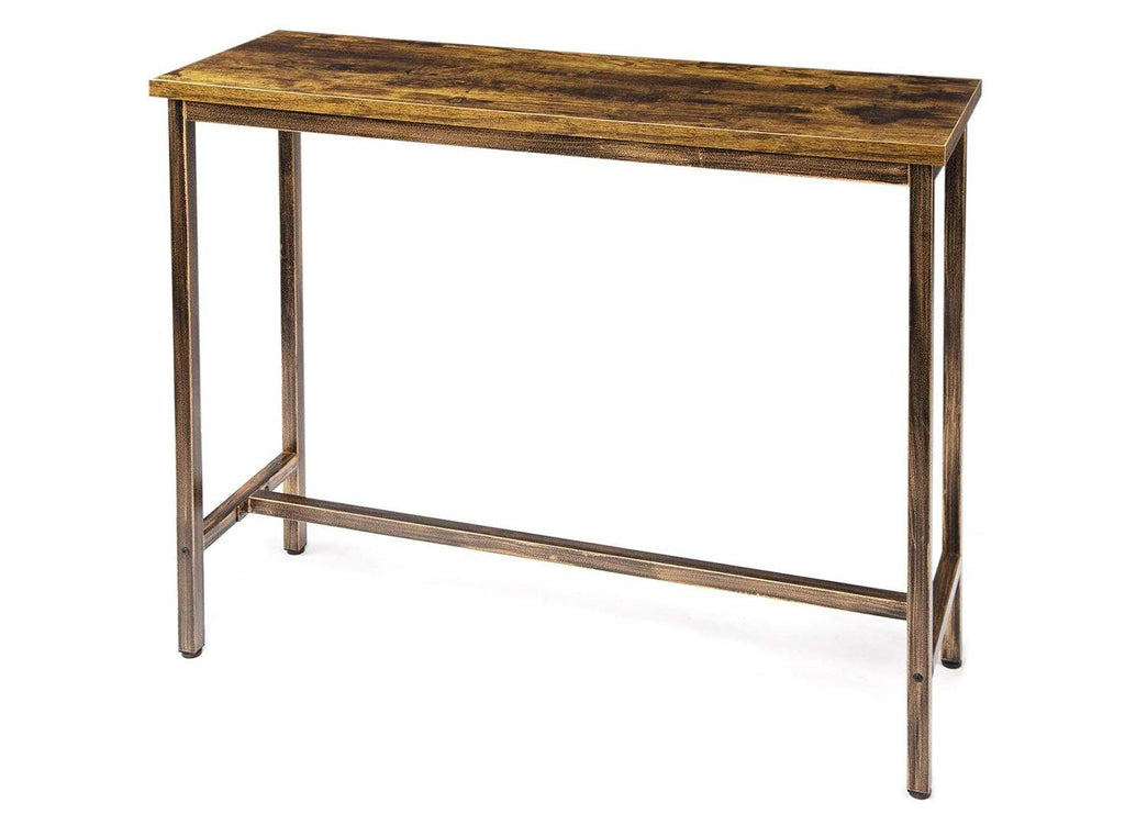 "TOPSKY Bar Table 47x15.5"" Narrow Rectangular Table with 1.18"" Thick Desktop Rustic Frame Kitchen Table Pub Dining High Table Indoor Only (Rustic Brown)"