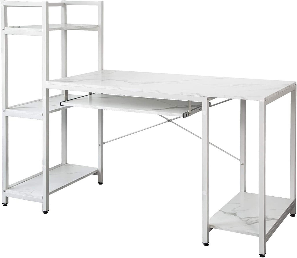 TOPSKY Computer Desk with Storage Shelves and Keyboard Trays for Home and Office