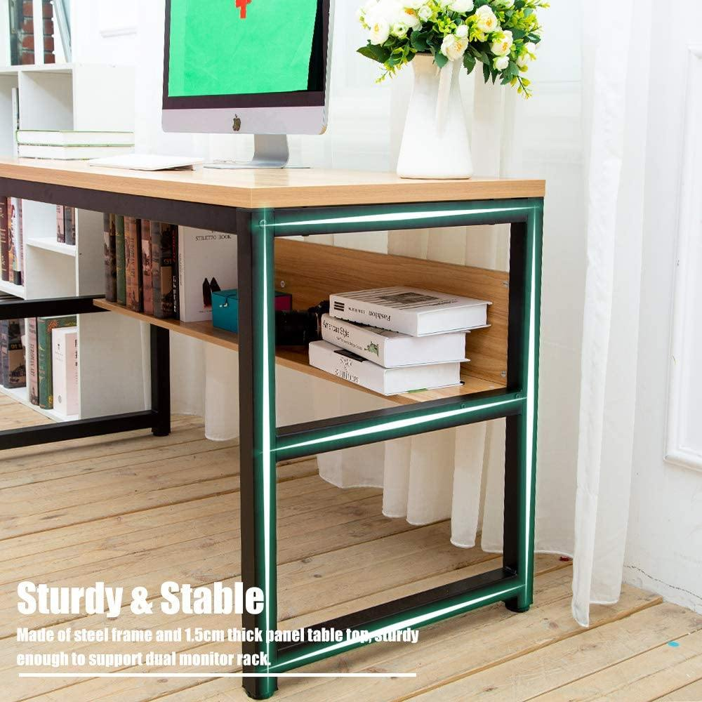 "TOPSKY 55"" Computer Desk with Bookshelf/Metal Desk Grommet Hole Cable Cover"