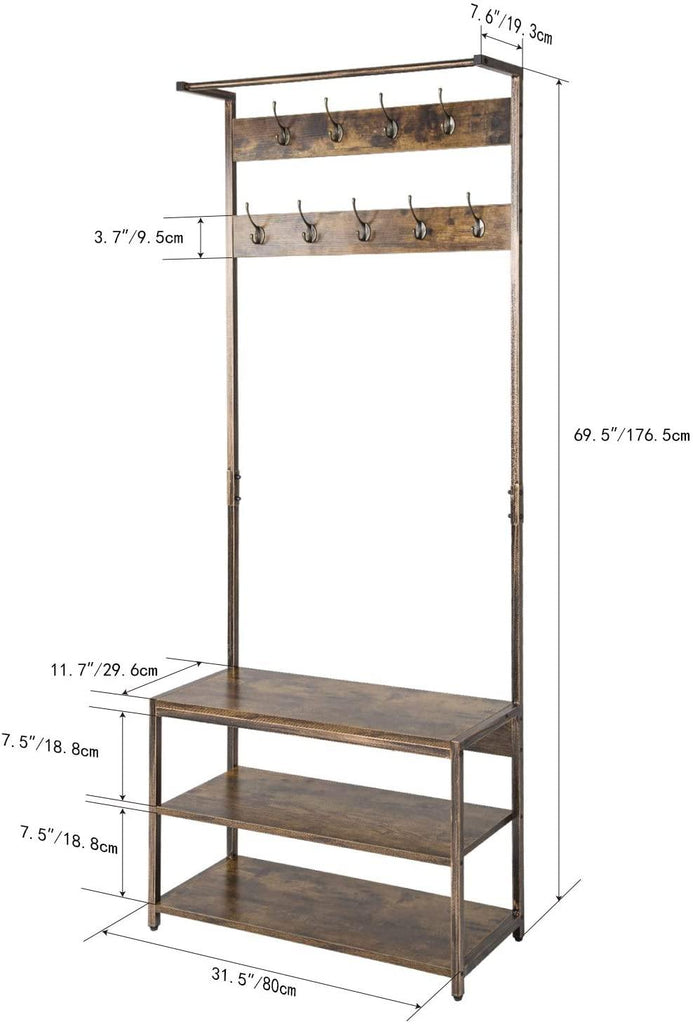 TOPSKY Coat Rack Shoe Bench Hall Tree with 9 Hooks 3 in 1 Design with Stable Rustic Metal Frame