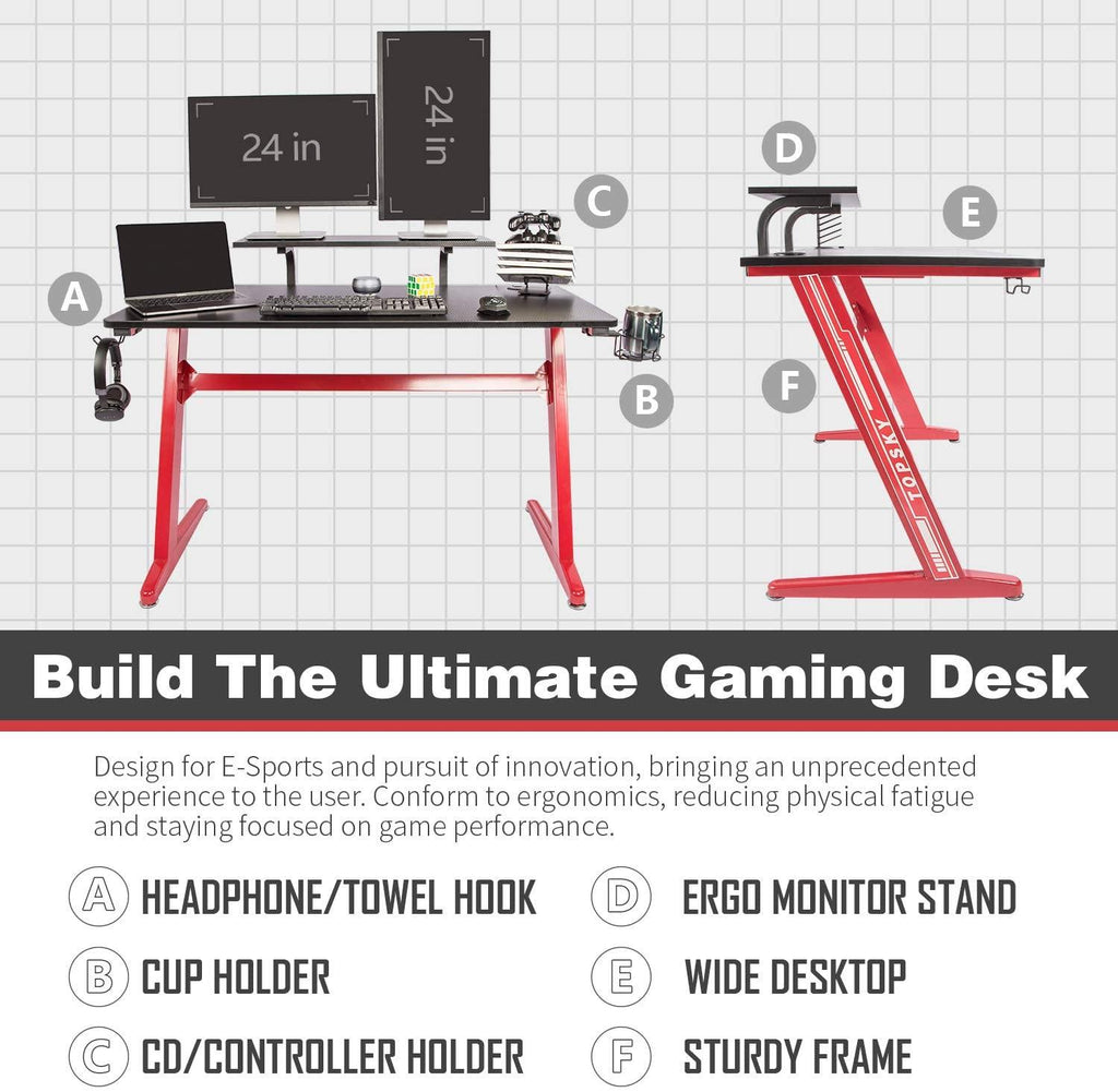 TOPSKY Gaming Desk 47.2inch Home Office Gaming Table with Cup Holder Headphone Hook Controller Stand Black and Red