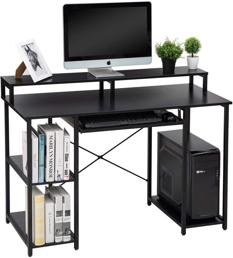 TOPSKY Computer Desk with Storage Shelves/Keyboard Tray/Monitor Stand Study Table for Home Office - Topskyfurniture