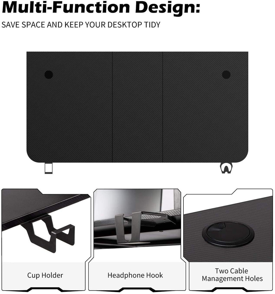 TOPSKY Gaming Desk Large Surface 63''x31.5'' with Cup Holder, Headphone Hook and Cable Management