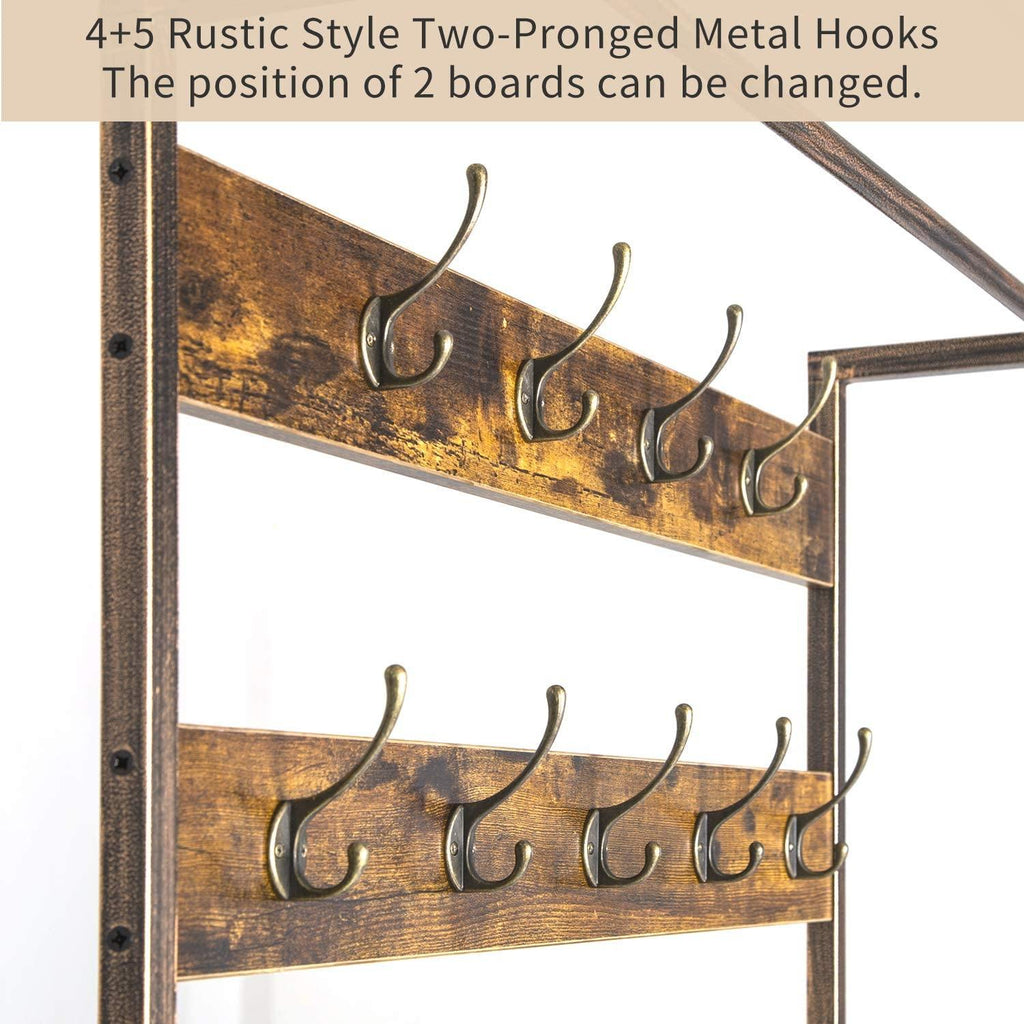 TOPSKY Coat Rack Shoe Bench Hall Tree with 9 Hooks 3 in 1 Design with Stable Rustic Metal Frame - Topskyfurniture