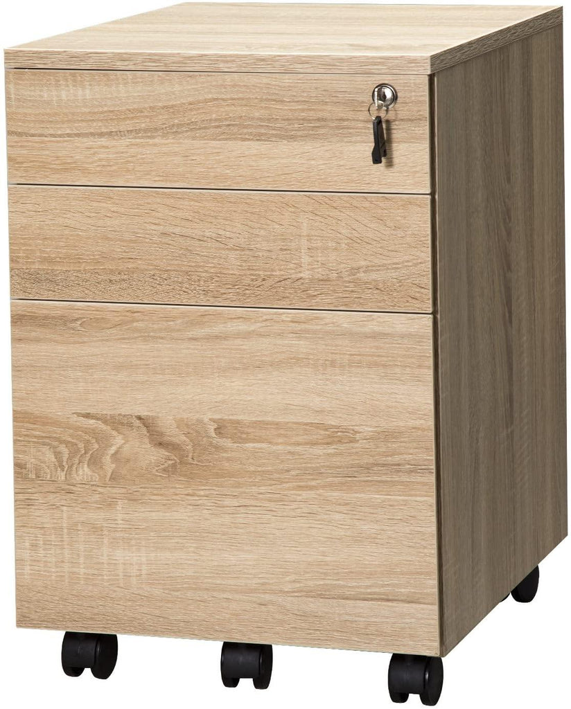 TOPSKY 3 Drawers Wood Mobile File Cabinet Fully Assembled Except Casters - Topskyfurniture