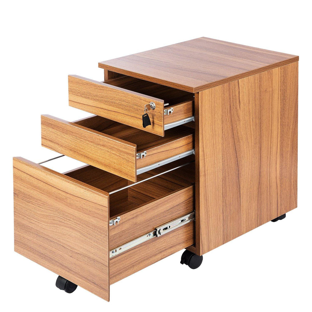 TOPSKY 3 Drawers Wood Mobile File Cabinet Fully Assembled Except Casters