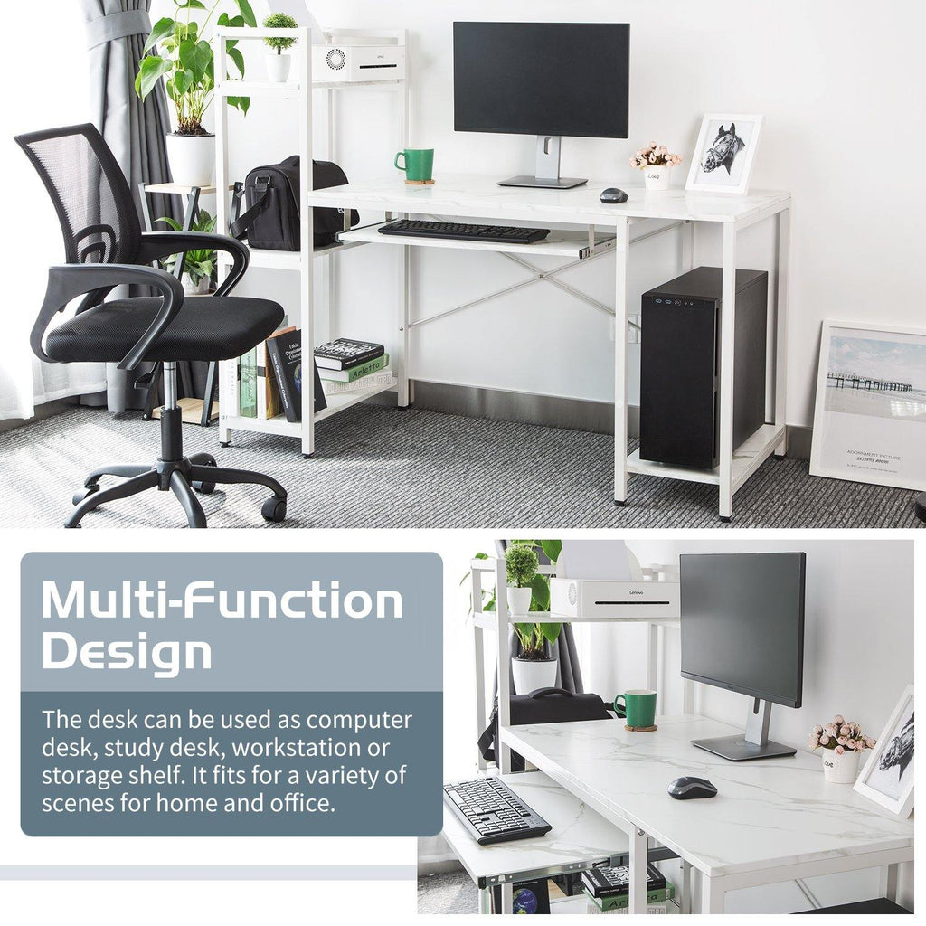 TOPSKY Computer Desk with Storage Shelves and Keyboard Trays for Home and Office - Topskyfurniture