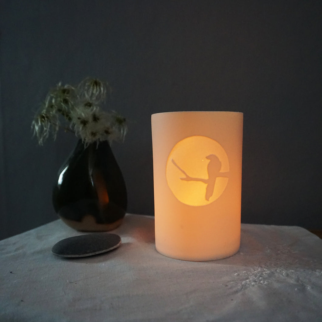 Glowing beaker with magpie silhouetted in a bright circle. Vase and pebble on left.