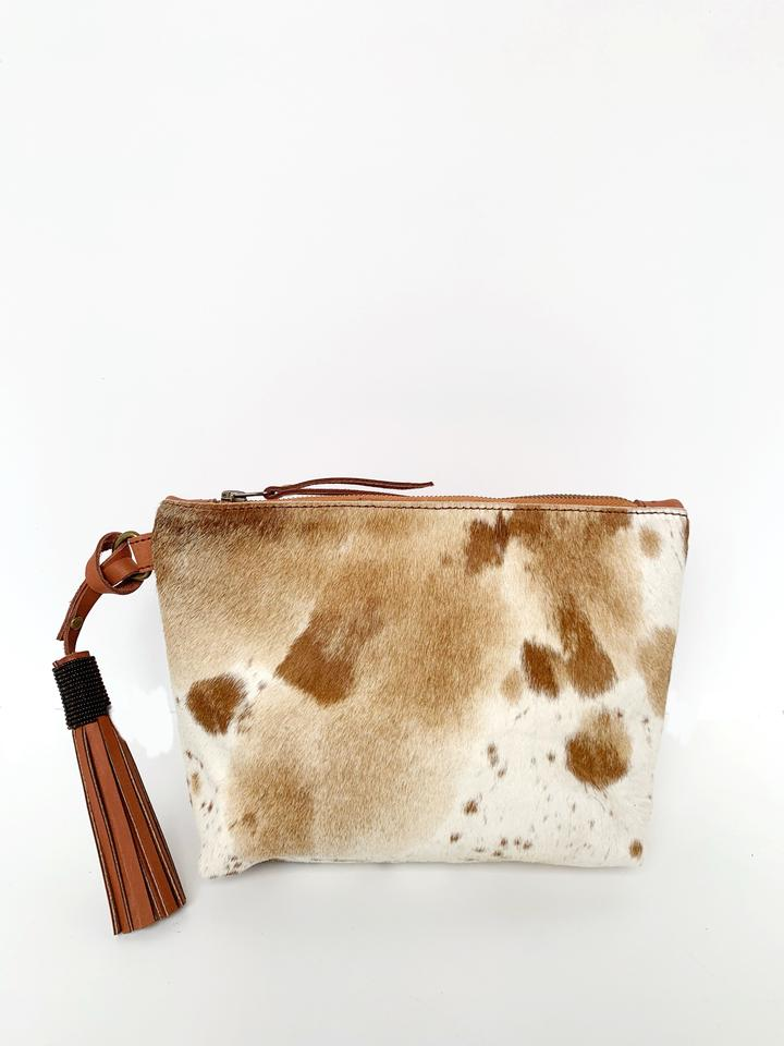 Keely Clutch - Chestnut Cow Hair