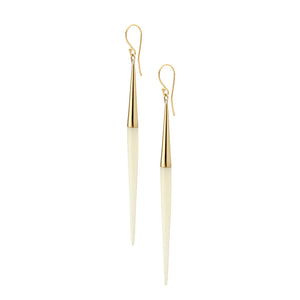 Capped Quill Dangle Earrings - White