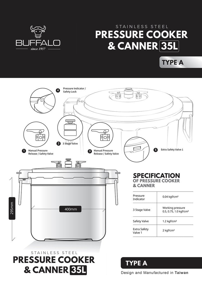 Buffalo Commercial Pressure Cooker & Canner 35L