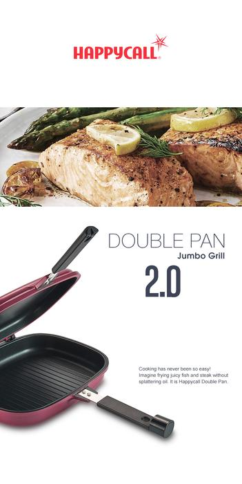 Happycall Compact Double Pan (Detachable) - Jumbo Grill Navy Blue