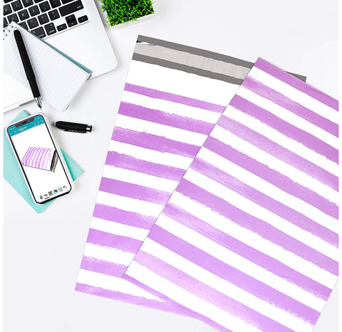 "Purple Watercolor Stripe 10x13"" Premium Poly Mailer - set of 10"