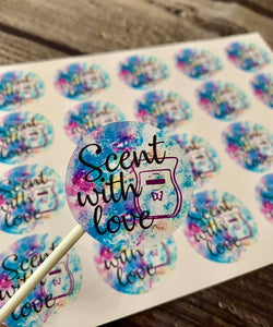 "1.5"" Scent with love Stickers - 20 stickers per sheet"