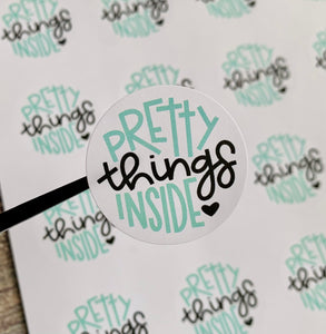 "1.6"" pretty things inside stickers - 20 stickers per sheet"