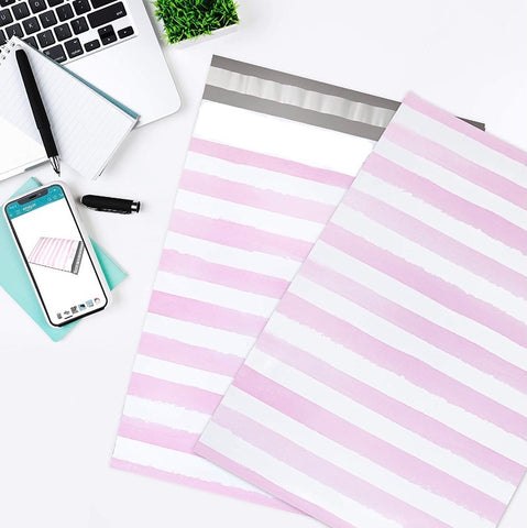 "Pink Watercolor Stripe 10x13"" Premium Poly Mailer - set of 10"