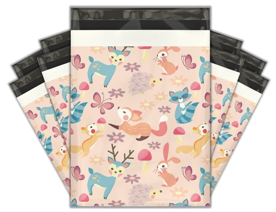 10x13 Woodland critters premium poly mailer - set of 10