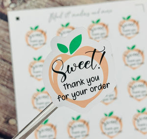 "1.75"" Sweet peach stickers - 20 stickers per sheet"