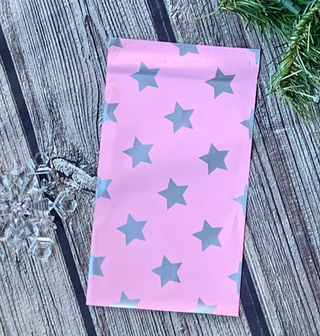 Silver Stars on pale pink 6x9 poly mailer - set of 20