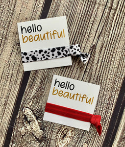 Cow print assorted hair tie and card