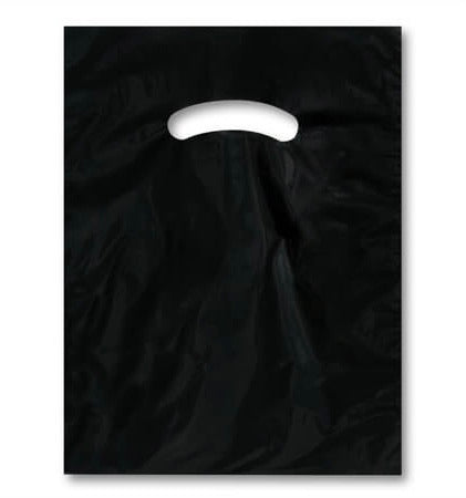 Black plastic merchandise bag 9x12 - set of 20