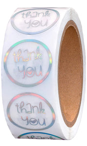"1.5"" Holographic Thank You Stickers - set of 50"