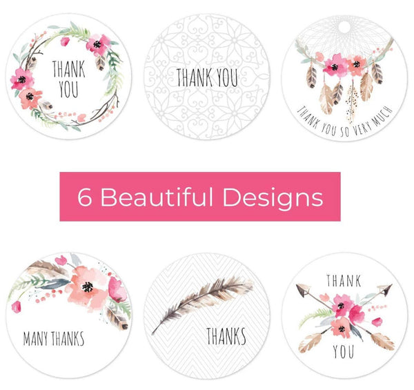 "1.5"" Assorted Boho Thank You Stickers - set of 50"