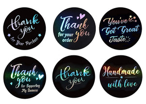 "1.5"" Black & Holographic Thank You Stickers - set of 50"
