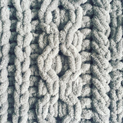 A close up of knitting detail in grey chenille yarn showing a chain link cable.