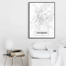 Load image into Gallery viewer, CHATTANOOGA, TENNESSEE - Black White Custom World City Map Poster