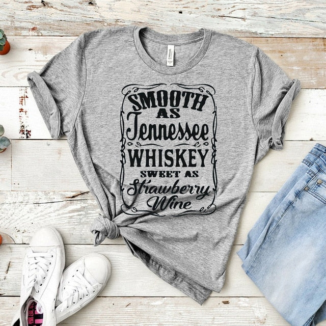 Smooth As Tennessee Whiskey Sweet As Strawberry Wine Shirt Country Music Shirt Rodeo Shirts Women Graphic Tee Whiskey tshirt