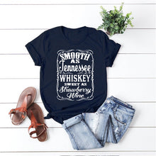 Load image into Gallery viewer, Smooth As Tennessee Whiskey Sweet As Strawberry Wine Shirt Country Music Shirt Rodeo Shirts Women Graphic Tee Whiskey tshirt
