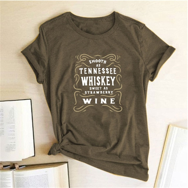 Tennessee Whiskey Wine Letter Print T-shirts Women - Chattanooga