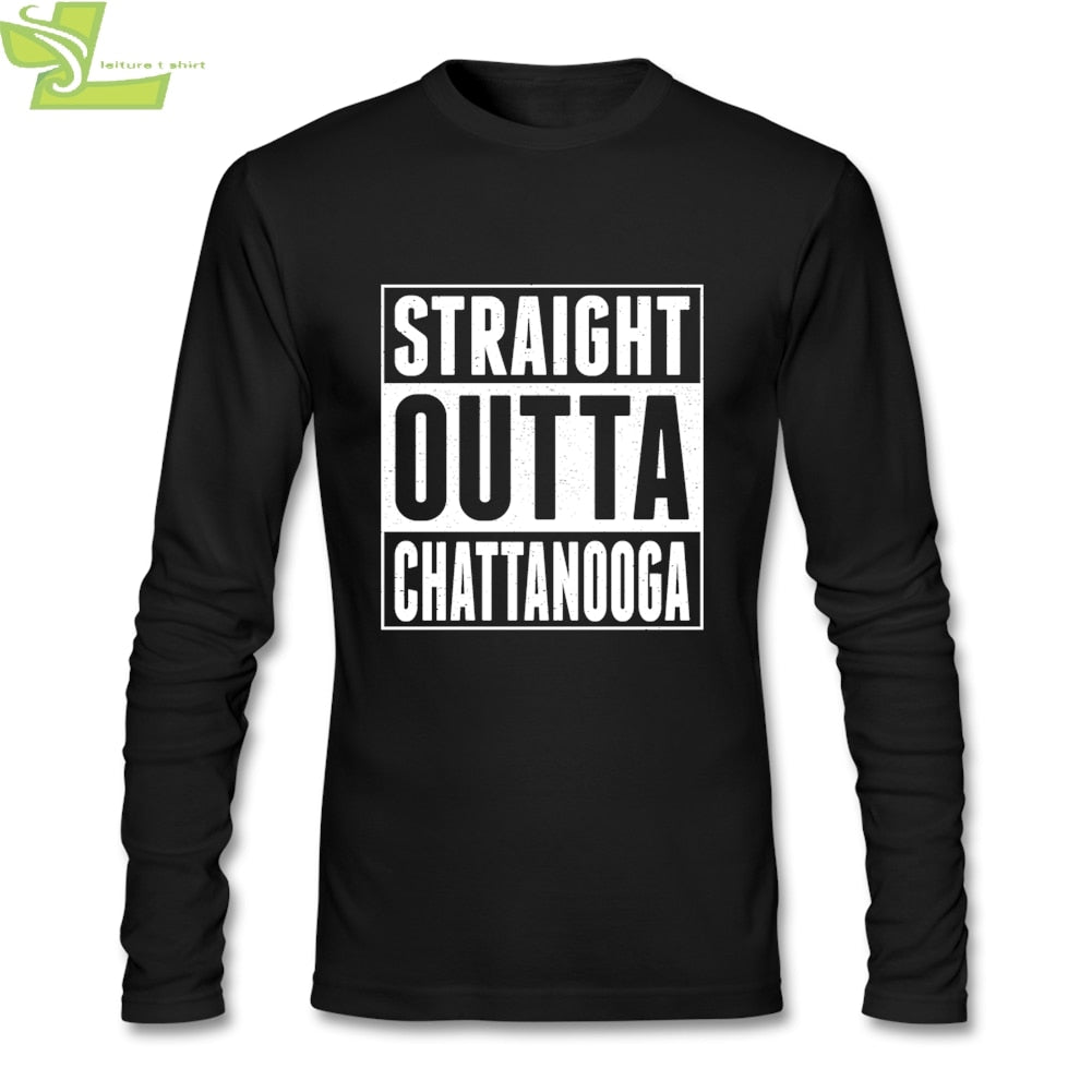 Men T Shirts Long Sleeve Straight Outta Chattanooga