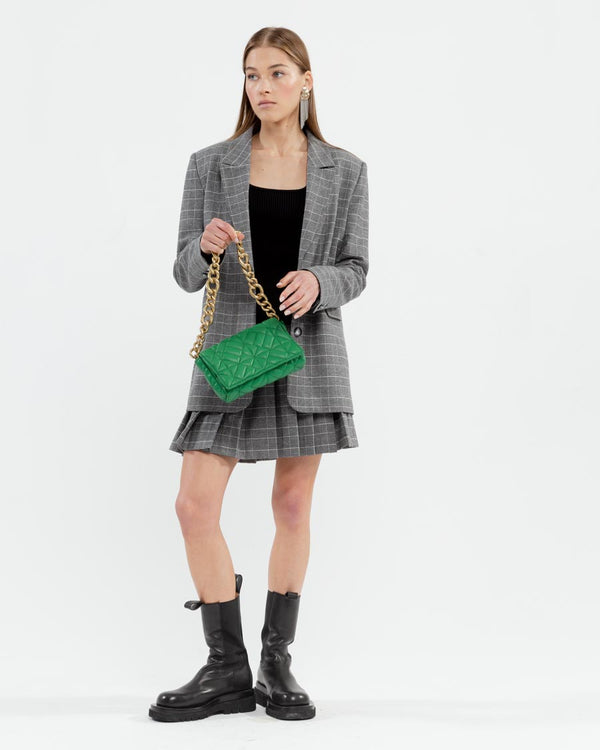 Plaid suit with mini skirt