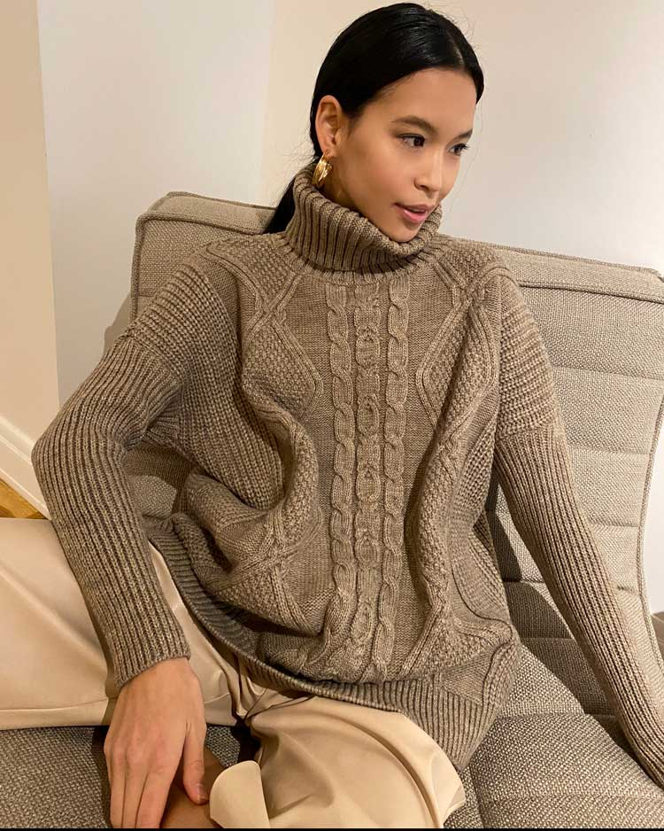Beige Chunky Knit Sweater