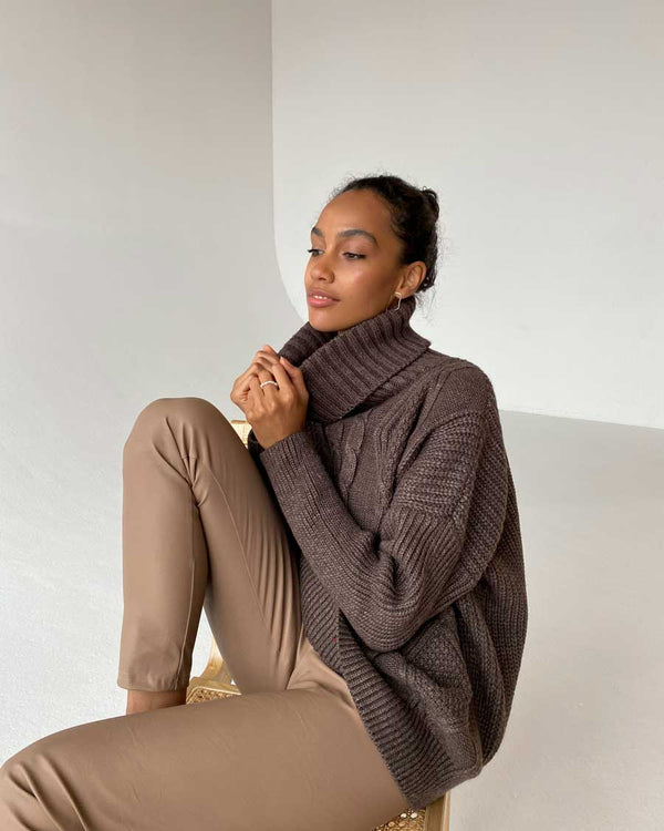 Chocolate Chunky Knit Sweater