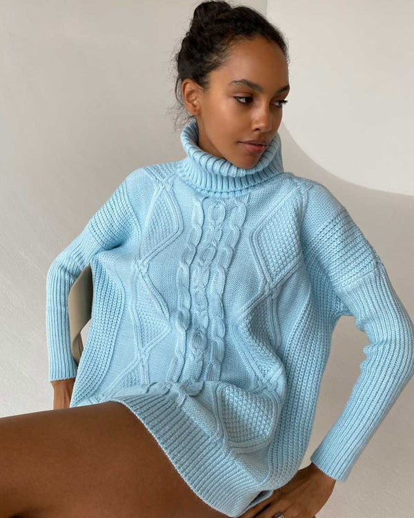 Light blue chunky knit sweater
