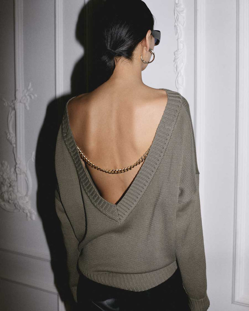 Khaki back jumper