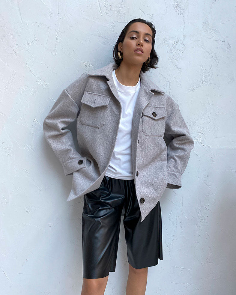 Gray oversize shirt coat