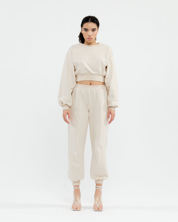 Bezh tracksuit with cropped sweatshirt