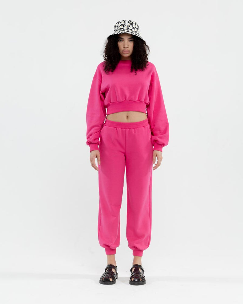 Pink tracksuit with cropped sweatshirt