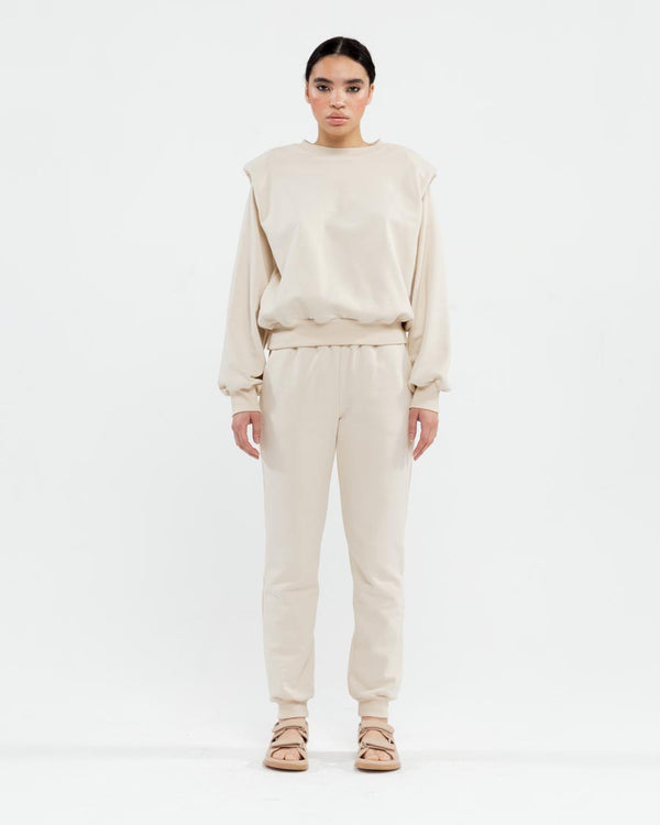 Bezh tracksuit with shoulder pads