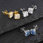 KRKC Hip Hop stud hoop sterling silver 925 earring gold fashion round square 7mm 7.5mm Blue diamond CZ earrings for men women