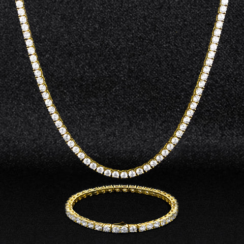 KRKC Drop Shipping 1pcs Service 3mm White Gold Plated CZ Tennis Bracelet and Necklace Set Jewelry Choker Tennis Chain