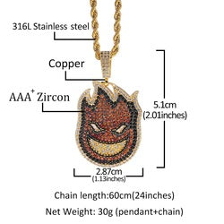 Men's Hip Hop Rock Jewelry Cartoon  New Flame Small Boy Two-sided Spitfire Wheels Pendant Necklace for Men Women Rapper Jewelry (Gold)