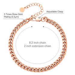 KRKC 6mm Miami Cuban Link Curb Anklet Foot Jewelry White 18k Rose Gold Plated Stainless Steel Ankle Bracelet Anklets for Women