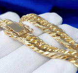 Hip Hop Jewelry Hot Selling Real 18K Solid Gold Chunky Cuban Link Bracelet for Men