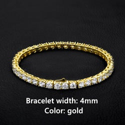 KRKC&CO Wholesale Cubic Zirconia 14K 18K Rose Gold Silver Tennis Chain Women Men Iced Out Crystal CZ Diamond Tennis Bracelet
