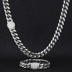 12mm CZ Buckle Silver Chain